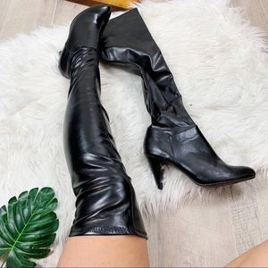 Chinese Laundry Black Leather Knee High Heel Boots